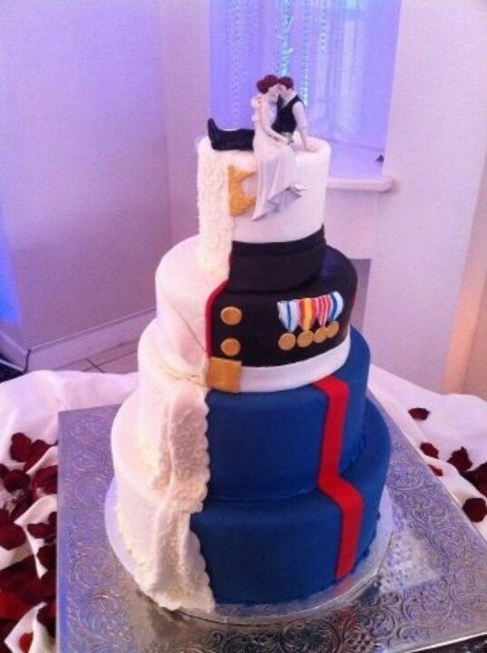 Military Wedding Cake For Bride And Groom.