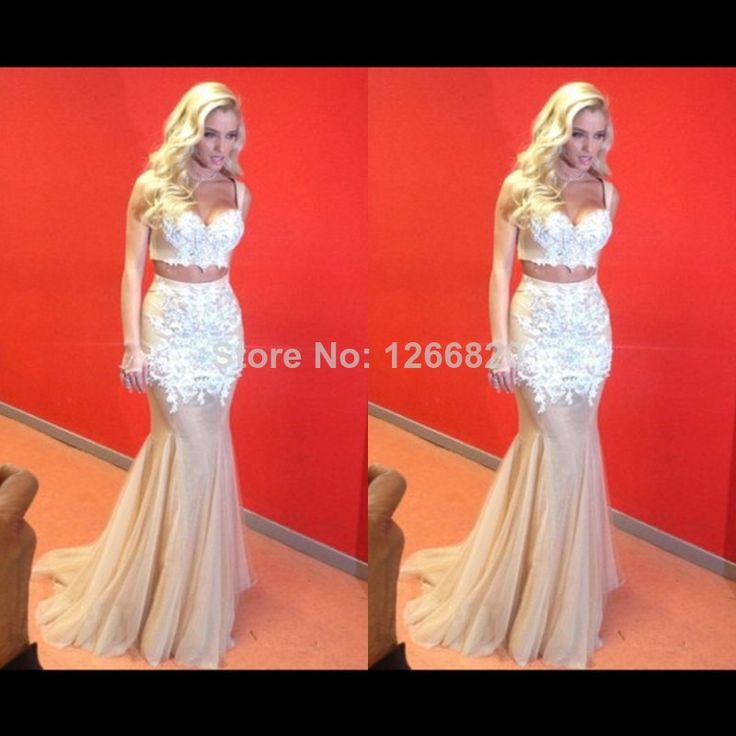 2014 Sexy Beaded Lace Appliqued Long Mermaid Champagne Party Dresses Evening Dress Two Piece Prom Dress $156.00