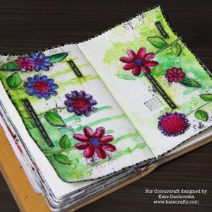 Mixed media art journal page with Rubber Dance textured flowers and Brushos