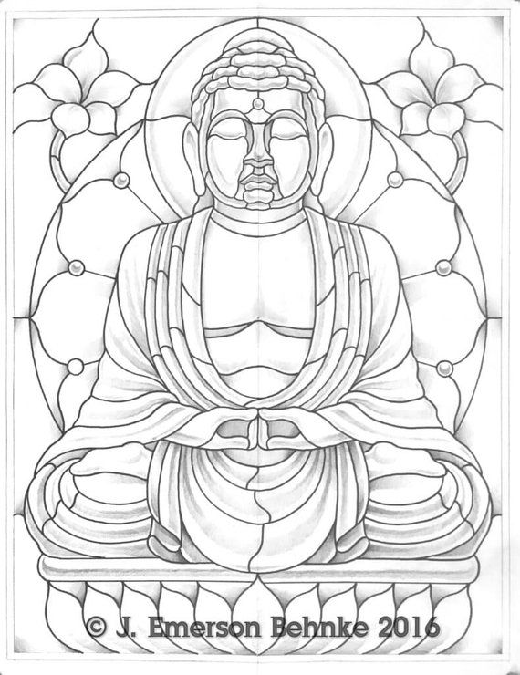 The Buddha Digital Pdf Stained Glass Designs Art Glass Painting