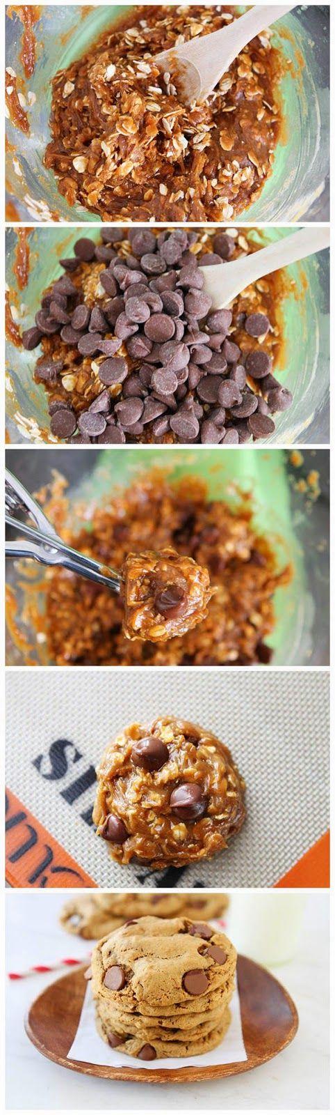 Flourless Peanut Butter Oatmeal Chocolate Chip Cookies - Gluten Free