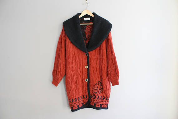 Knitted Long Coat Knitted Cardigan Wool Duster Slouchy Sweater