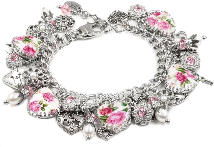 The wonderful look of Shabby Chic with my Porcelain Rose Bracelet create from a vintage china pattern c. 1940's. Top this lovely piece off with fresh water pearls, rose Swarovski crystals, and tons of heart charms and this lovely piece is sure to be a hit for any occasion.