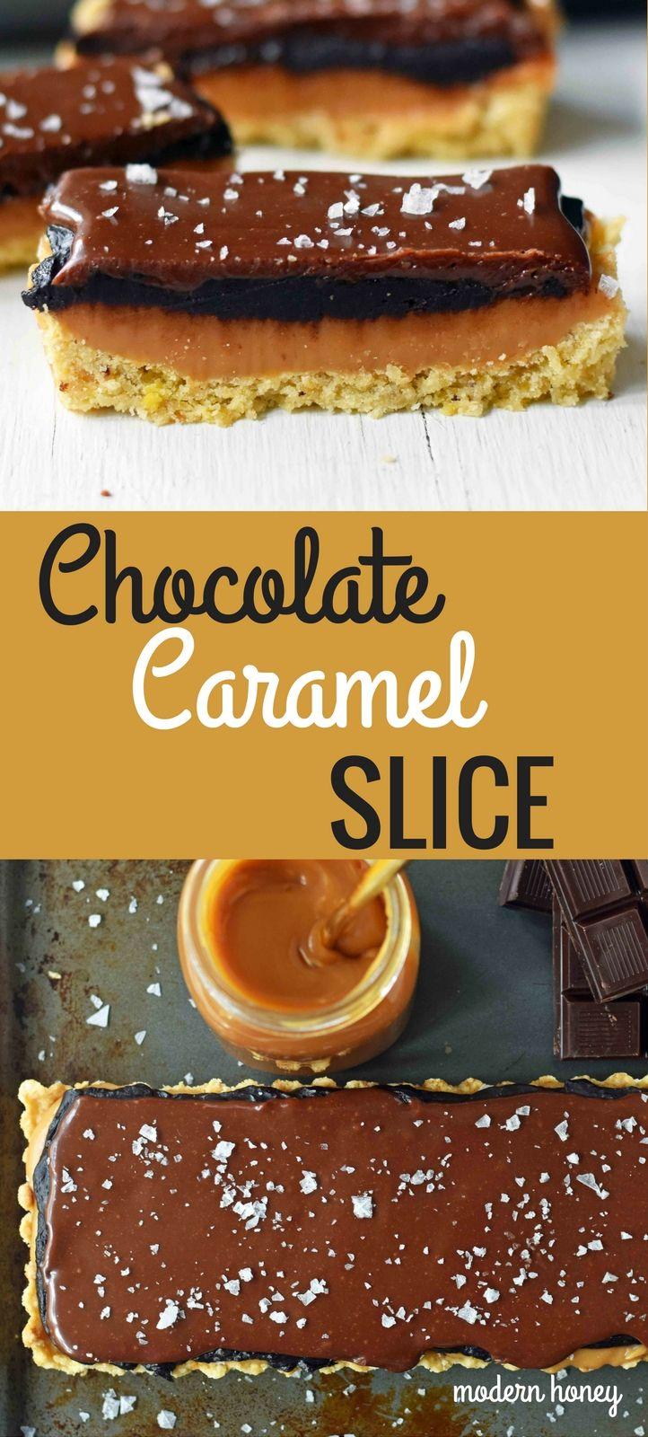 Chocolate Caramel Slice is a dessert with a buttery shortbread crust, creamy handcrafted caramel, and a silky smooth chocolate glaze. A gourmet Twix candy bar! www.modernhoney.com