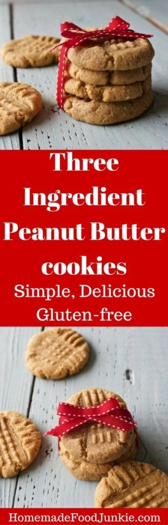 Three Ingredient Peanut Butter Cookies extremely easy. Low Sodium, dairy free and gluten free and so good!  by HomemadeFoodJunkie.com