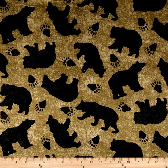 Black Bear Minky Fabric Minky Fabric Fabric Novelty Fabric