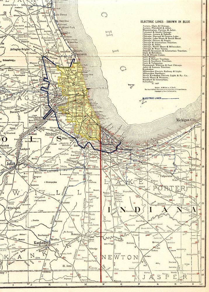 1921 Antique Chicago Railroad Map Vintage Map Of Chicago Illinois - Chicago-on-the-us-map