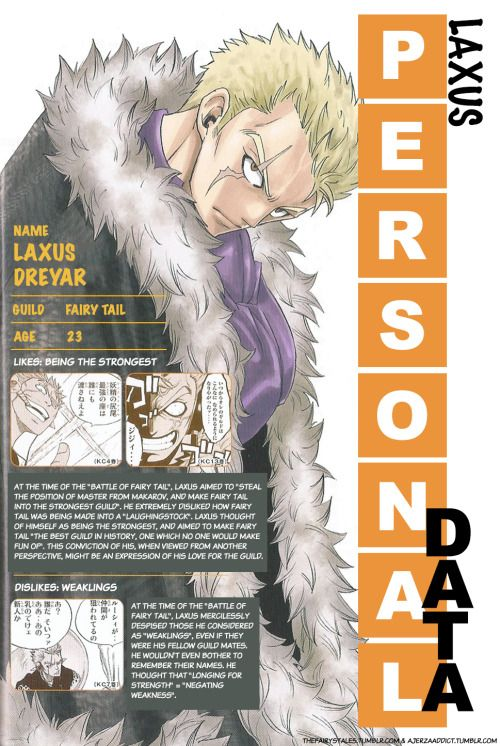 The Fairy's Tales — Laxus' personal data from Monthly Fairy Tail...