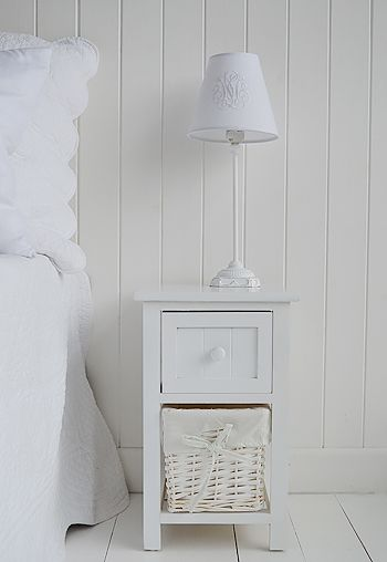 The White Lighthouse Bedroom Furniture. Wide Bar Harbor Small Narrow White  Bedside Table With Basket Drawer And Wooden Drawer For Storage.