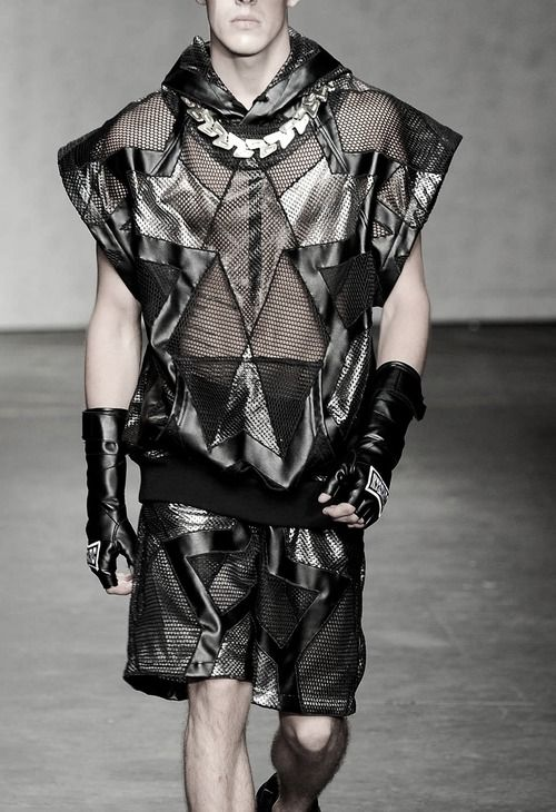 KTZ 2015 Spring Summer Patchwork mesh top with cowl neck, gauntlets and shorts.
