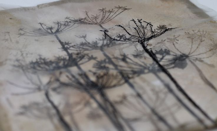 work for Oxfordshire Artweeks 2015 using a thermofax screen, eco printed paper and machine stitching