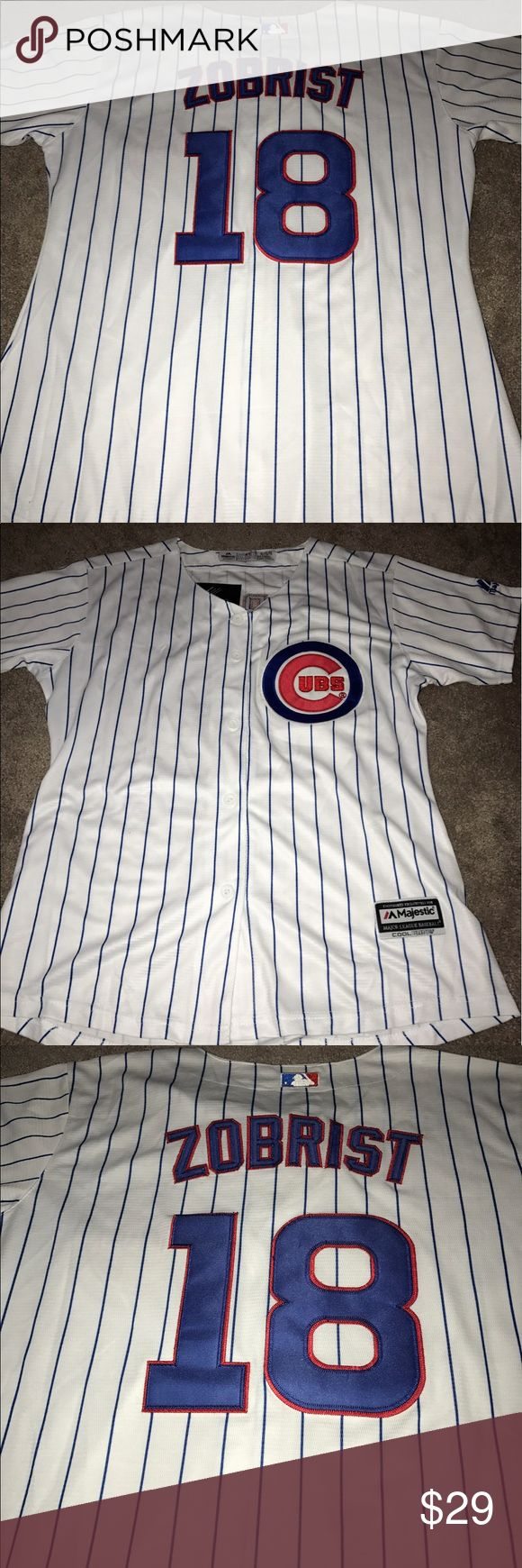 Women's Chicago Cubs Ben Zobrist jersey (XL) Women's Chicago Cubs Ben Zobrist Majestic Athletic home jersey. Brand new with tags, fully embroidered, size XL. Check my other listings for more Cubs merchandise, including jerseys for Men, Women and Kids! Majestic Tops Button Down Shirts