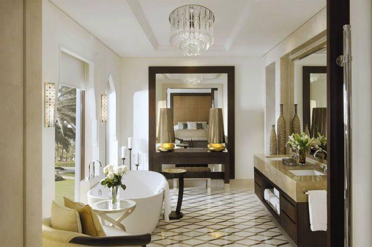 One and Only The Palm Dubai, United Arab Emirates. #hotel #restroom #chandelier #lighting #design #modern #luxury
