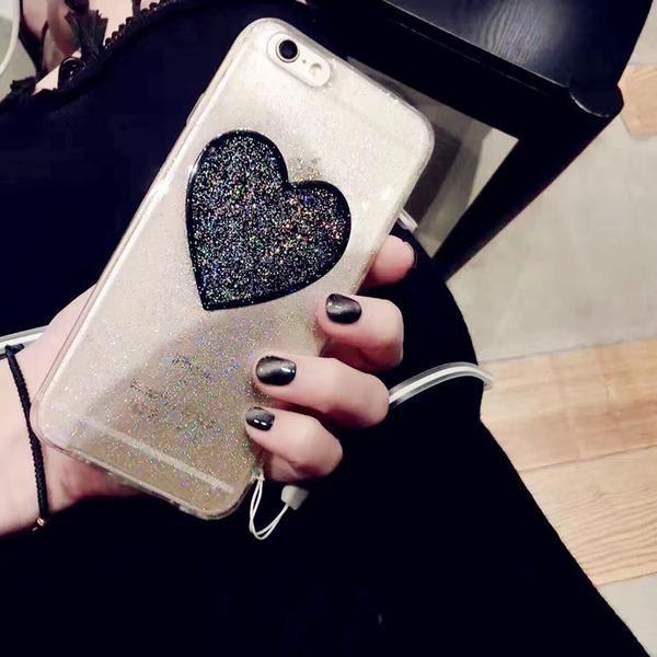 BLACK GLITTER HEART PHONE CASE $8,20