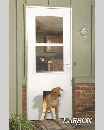 No cutting into your house for the doggie door! This LARSON storm door comes with a pet door already built-in.   #ItsADogsLife #WelcomeHome #MyLarsonDoor