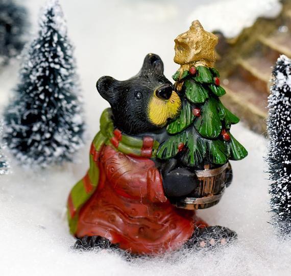 Christmas Tree Supply 2020 Christmas Black Bear Holding Potted Christmas Tree Miniature