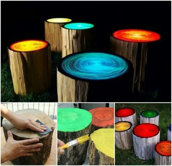 Glow In The Dark Stump Stools With Images Diy Glow Backyard Campfire Backyard Diy Projects