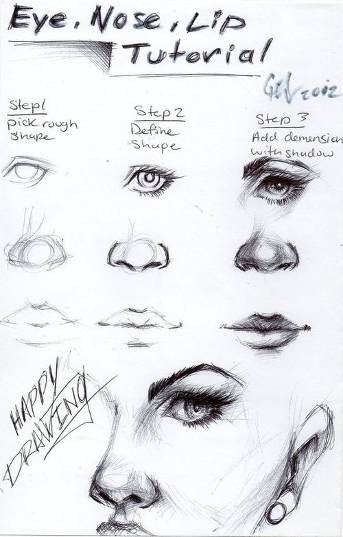 Eye, nose and lip tutorial by ... | Art Tutorials