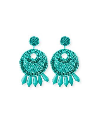 Beaded+Hoop+Drop+Clip-On+Earrings,+Turquoise++by+Kenneth+Jay+Lane+at+Neiman+Marcus.