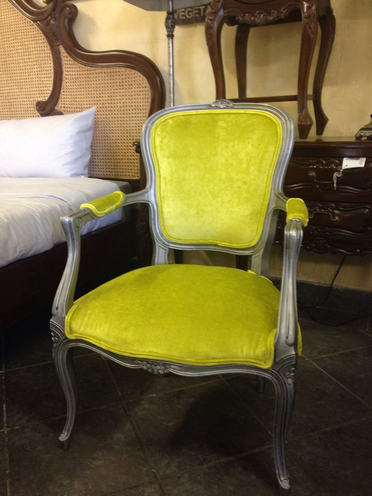Vintage Louis XV Arm chair in silver and green. Some lucky teenager!