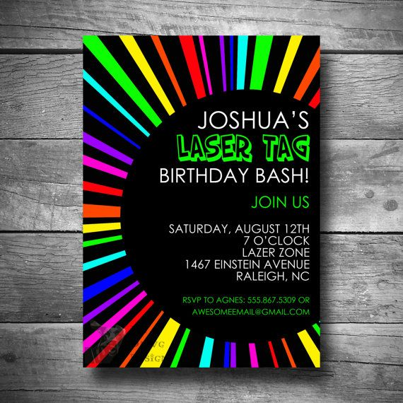 Laser Tag Birthday Invitation Rainbow Invite Printable Email Or Text