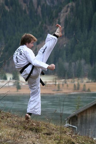 https://flic.kr/p/vFS4W | In the mountains 4 | Gstaad - The Swiss Alps 2006 #taekwondo #martialarts #santiagopinto #kick #blackbelt #태권도