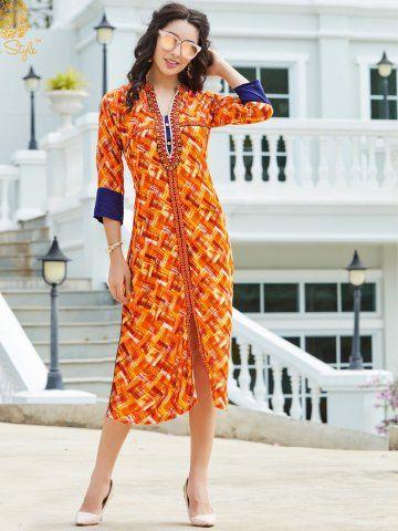 47b237535a Studio Style Orange Rayon Cotton Kurti - | 749 | Ethnic Wear For ...