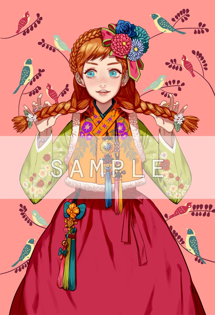 """Disney and Dreamworks Characters in Korean Hanbok - Anna from """"Frozen"""" - Art by Byajae"""