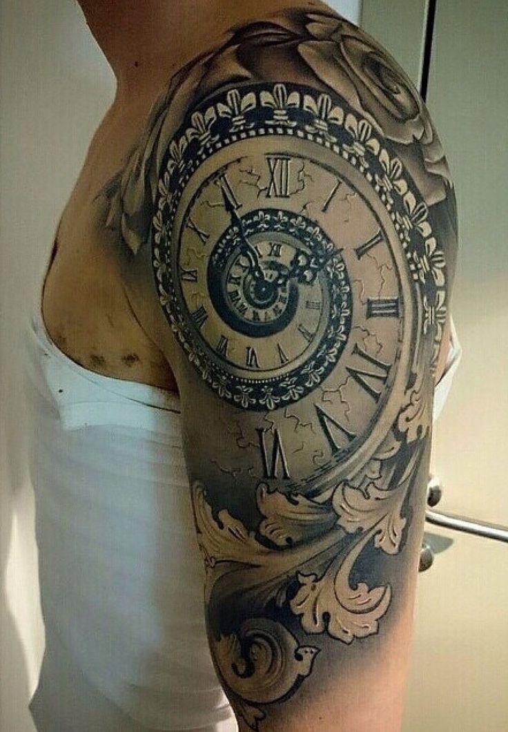 spiral time clock shoulder tattoo body art. Black Bedroom Furniture Sets. Home Design Ideas