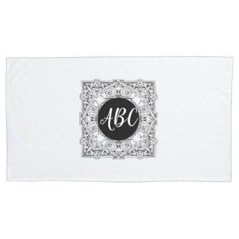 Black White Monogram Pillowcase Ornate Initials #wedding #pillowcases