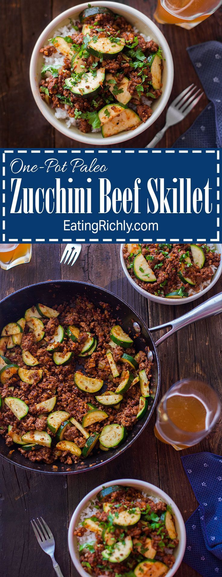 Need a quick easy paleo dinner? This one-pot zucchini beef skillet is ready in 30 minutes and can be eaten as is or over rice. Use up that garden zucchini! From http://EatingRichly.com
