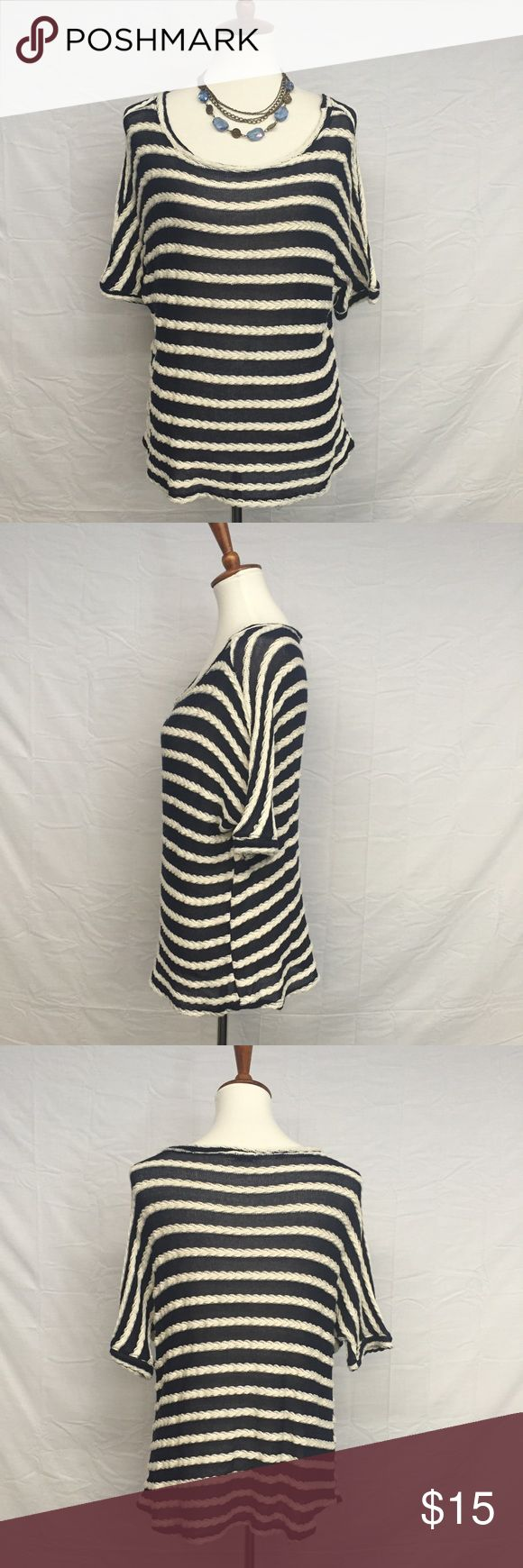 KUT From The Kloth Nautical Braided Stripes Tee Amazing navy blue and white stripe tee from KUT From The Kloth! The white stripes are braided and the navy blue stripes are sheer knit. Dolman sleeves. In excellent preowned condition. Some minor wear throughout. Smoke and pet free home. Kut from the Kloth Tops Tees - Short Sleeve