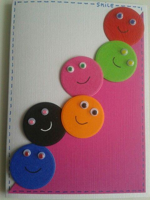 Smiley kaart in frissekleuren met wiebeloogjes.. Zijn allemaal restrondjes van de fototoestel stans... Kun je zo mooi hergebruiken...