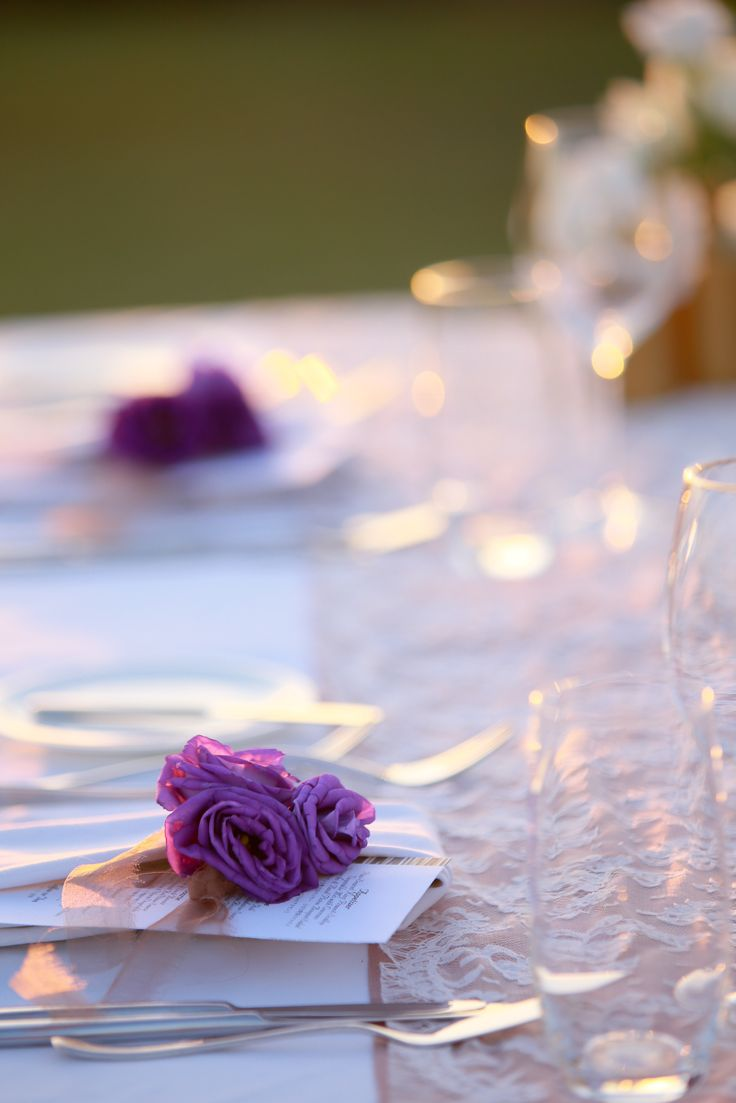 Menu Card accentuated with Purple Lisanthus by Tirtha Bridal Uluwatu Bali