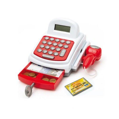Voici une caisse enregistreuse sonore et lumineuse pour jouer à la marchande. L'enfant scanne les produits ou, avec la calculatrice, il additionne le prix de chacun d'eux avant de dire à son client le montant à payer. Avec sa carte bleue ou avec de la monnaie, celui-ci règle sa note. Cette caisse accompagne les enfants dans leur apprentissage du calcul mental et de l'utilisation d'une calculatrice. Il se familiarise aussi avec les pièces et billets d'euros. Comme tous les jouets d'imitation…