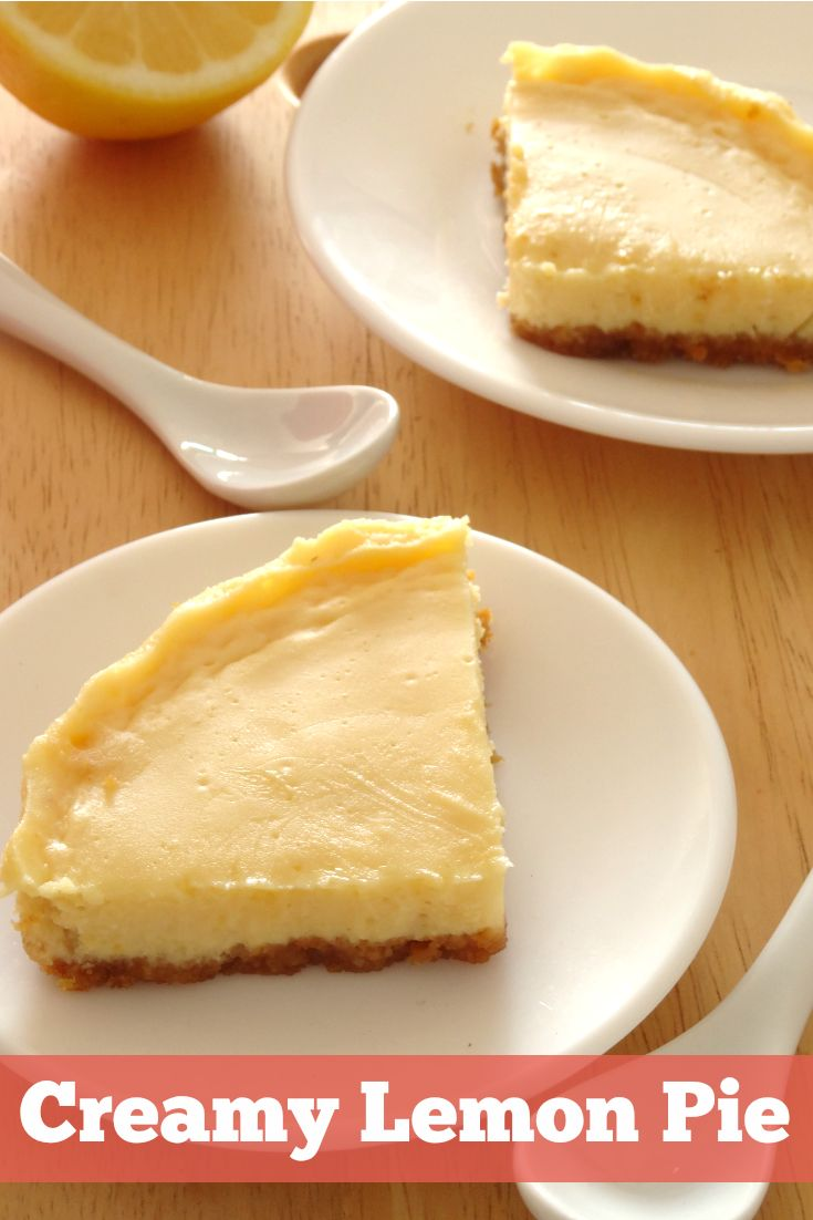 Creamy Lemon Pie Recipe - this healthy dessert pie has the most amazing creamy texture and is packed full of zingy citrus flavor, but it's got less than 200 calories for a great big slice! Cannot get enough of this dessert!