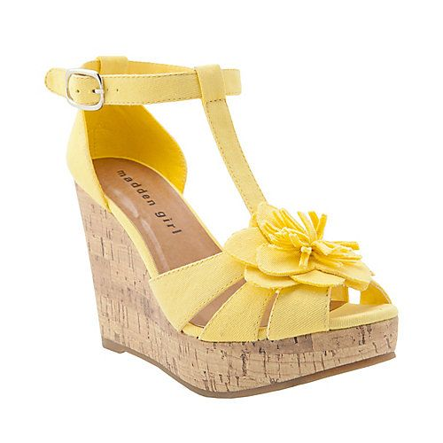 KOLASSO YELLOW FABRIC women's sandal high wedge - Steve Madden  Heather Wedding