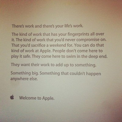 """A note from """"Apple"""" on your first day of work."""