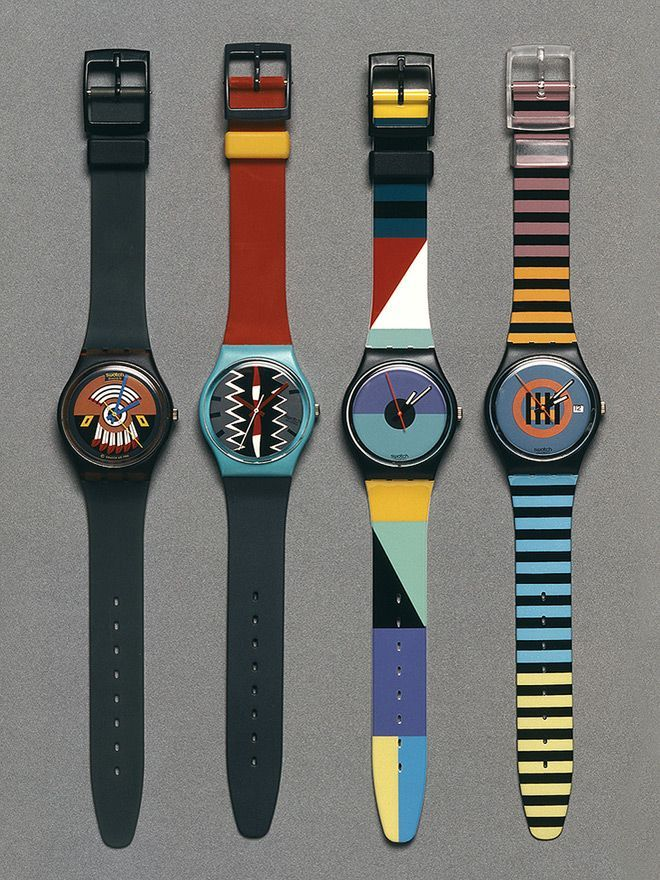 """A few Swatch best sellers from the 1980s: """"Ruffled Feathers,"""" """"Tonga, """"St. Catherine Point,"""" and """"Coral Gables."""" From Swiss Made: The Untold Story of Switzerland's Success, courtesy of Profile Books"""