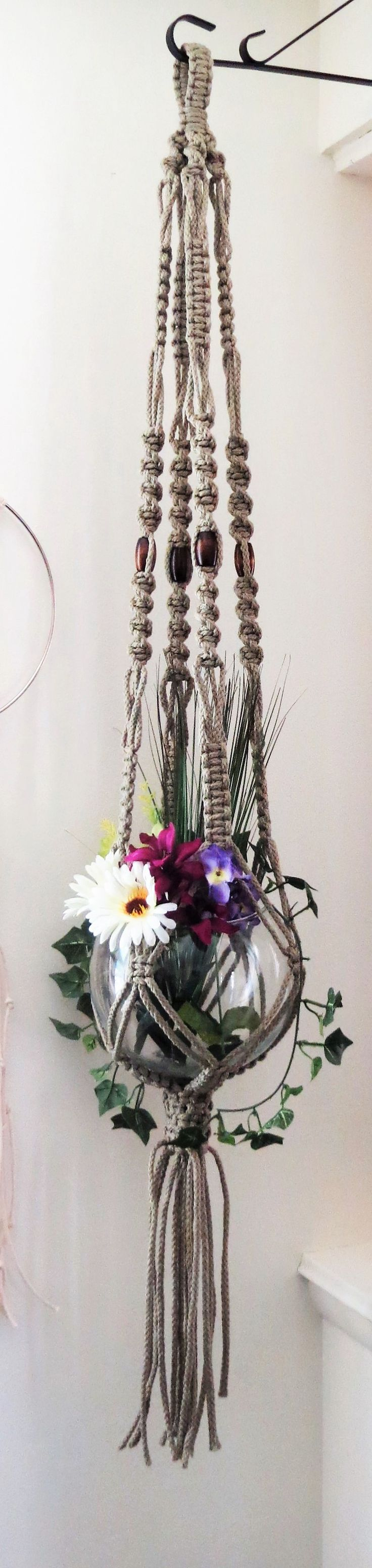 "Beaded macrame plant hanger, THATCH, pot holder, spiral pattern, 50"", hanging…"