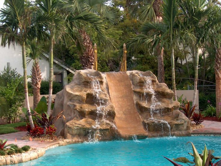 double waterfall and slide backyard pool ideas