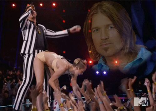 Pictures of Miley Cyrus' now-infamous VMAs performance immediately became a meme last night. | Is It Sexist To Trash Miley Cyrus' Bizarre VMAs Performance?