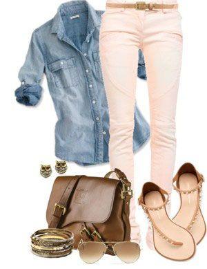 Denim top   colored skinnies (peach/pink)   sandals   brown accessories #DenimDecoded #DenimMovement #SMStaMesa