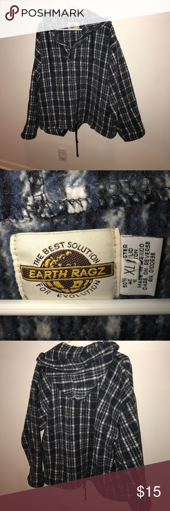 Earth Ragz hooded size XL blue and white plaid Earth Ragz hooded shirt size XL blue and white plaid. Across the shoulders is 25 inches; pit to pit is 25 inches; from shoulder seam to wrist is 23 inches; length from shoulder seam to bottom hem is 27 inches. This shirt is really thick and warm. earth ragz Shirts Sweatshirts & Hoodies