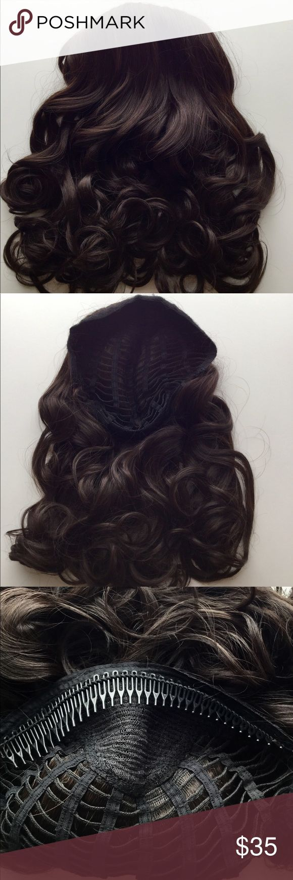 """23"""" Comb in Wavy Synthetic Headband Extension 23"""" Synthetic Comb in Headband 1pc Hair Extension in Chestnut color. This a high quality custom made hair extension by the Hair Voyager Co. Hair can be gently combed for a less wavy effect. Simply apply at crown of head and blend own hair back over, OR comb through hair from front and use your own scarf or headband over the edge. Very versatile! Creates length and volume in a snap! Hair Voyager Accessories Hair Accessories"""