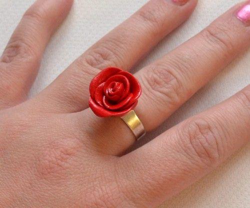 Ros. Ring. Rose. Alla hjärtans dag. Valentines day. Clay. Fimolera.