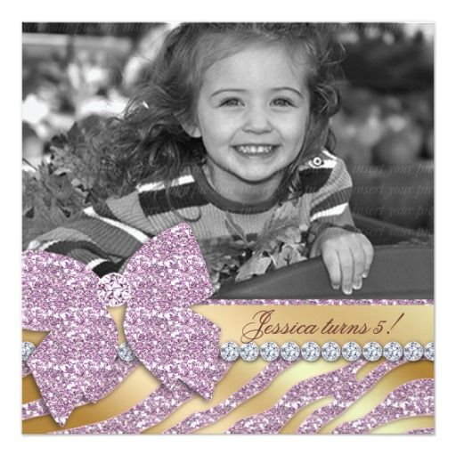 Zebra Birthday Invitation Pink Gold Jewellery Bow