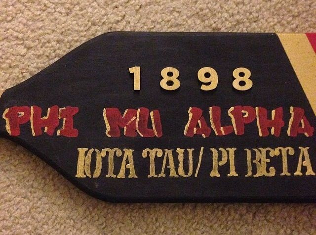 Customized Phi Mu Alpha paddle with graffiti letters  #music #diy #paddle #sinfonia #PMA #fraternity #gifts