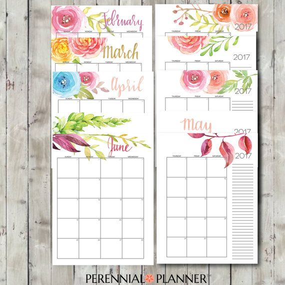 2017 Calendar, A5 Printable, Editable, Digital Monthly Pages, Two Page Spread, Instant Download, Portrait  This calendar is available in 8.5 x 11 in. here: https://www.etsy.com/listing/463474030/printable-calendar-2016-2017-editable  Perennial Planner creates printable planners and spreadsheets to help you organize your home and life, in the most customized, budget-friendly, and simple way possible. EDITABLE: Most of these planners come with many editable documents, m...