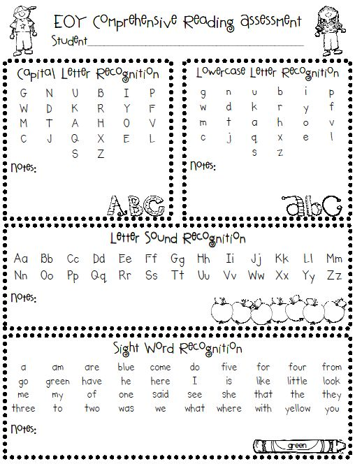 Cute and useful comprehensive beginning, middle and end language assessment for Kindergarten